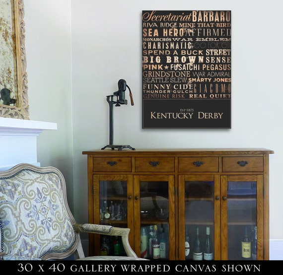 Kentucky Derby Horse Racing Winners typography graphic artwork on gallery wrapped canvas by Stephen Fowler