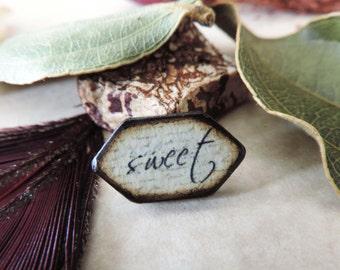 "Cream Black antiqued Script ""SWEET"" Inspirational Wood Burned 7/8 x 1/2"" ART Tile double Pentagon shaped pendant charm"