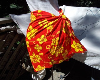 Vintage Hawaiian Fabric Sarong Tie Skirt Swim Suit Accessory Red and Yellow Hibiscus Print