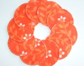 Reusable Make-up Remover Pads Orange Flower Washable Cotton Rounds, Ready to ship