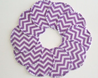 Reusable Cotton Rounds Purple Chevron Zig Zag Cloth Makeup Remover Pads Cosmetic Facial Rounds, Ready to ship