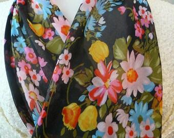 Vintage Colorful Floral Scarf on black background  - Gorgeous