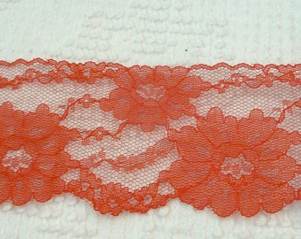 Vintage Red Flat Lace - 3 inches wide - over 2 yards - gorgeous