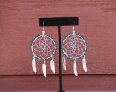 Native American Inspired Dream catcher earrings with glass beads and metallic thread