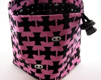Pink and Black Cross and Skelanimals Skulls Dice Bag
