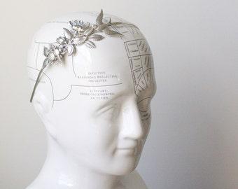 Whimsical bridal headband wreath silver antique style flower bee bird garden leaf head piece sparrow victorian wedding hair accessory