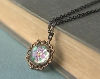 Flower necklace vintage crystal bridal pastel victorian filigree brass lavender seafoam mint floral feminine antique style jewel pendant gem