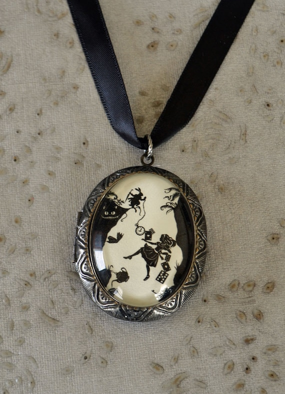 Sale 20% Off // ALICE IN WONDERLAND Locket Necklace - Down the Rabbit Hole - pendant on ribbon - Silhouette Jewelry // Coupon Code SALE20