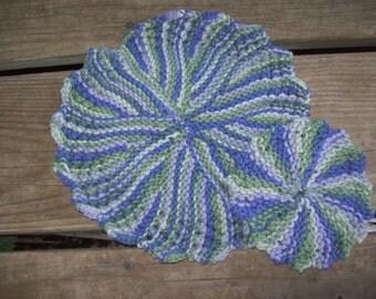 100 Percent Cotton,Large,Small,Gift, Kitchen,Green,Light Purple Dark Purple,Hand Knit,Face,Bath