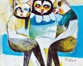 Original Painting, Mixed media, Animals, Love, Owl, Cat, Humor, Unique art, Folk Art, Footsie - Mixed Media Original