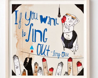 Print, Cat Stevens, Fun art , Music lover gift, Cool wall art, Illustration, Poster, Cat Stevens Lyrics, Nursery art, Drawing
