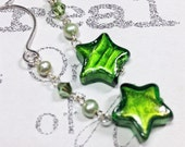 Green Murano Glass Star Handmade Sterling Silver Earrings with Peridot and Pearl