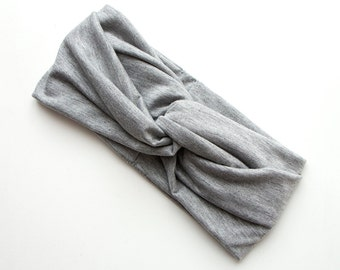Turban Headband // Turband // Hair Wrap // Twist Headband // Fabric Hairband // Winter Turban // Light Marl Grey