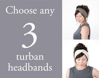 Any 3 Turban Headbands // turban hair wrap // turband // fabric headband // fashion turban