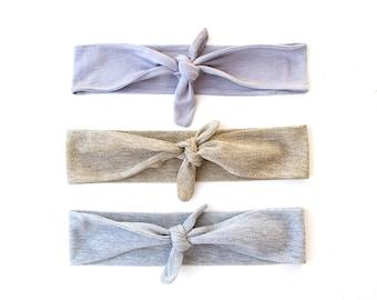 Skinny Tie Up Headscarf // Knotted Headband // Hair wrap // Yoga Hairband // Stretch Hairband // Silver // Gold // Metallic