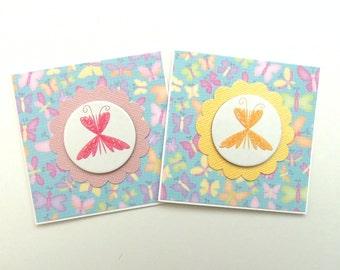 Glittery Butterflies - Mini Note Cards - Set of 2