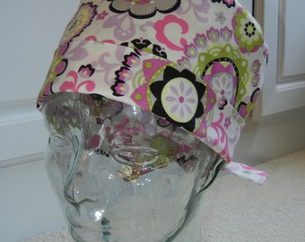 Tie Back Surgical Scrub Hat with Flirty Girl