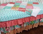 HOT SALE* Custom Designer Coral & Mint/Teal Posh 3 Tier Ruffled Crib Skirt Lux Bumperless Crib Bedding Set READY To Ship