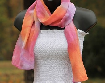 Spiced ... hand painted silk scarf, crepe de chine