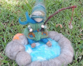 Fishing Gnome Play Set-  Needle felted soft sculpture Tomptin Waldorf Inspired
