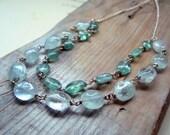 Aquamarine and Apatite Necklace Silver Spring Fashion March Birthstone Gifts Under 100 Modern Gemstone Jewelry - Ocean Breeze