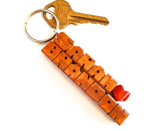 Custom Love Keychain, Names Carved to Order in Leopardwood