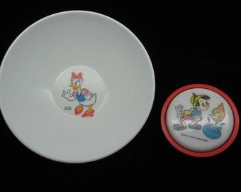 SALE - Vintage Disney Set - Melamine Daisy Duck Bowl and Pinocchio Nightlight
