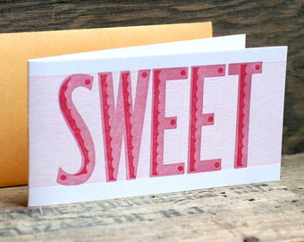 SWEET letterpress card