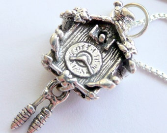 Sterling Silver Cuckoo Clock Charm Edgar Allen Poe Fan Bohemian Poet Gothic Tales Penny Dreadful  Gift for Her Charm Necklace
