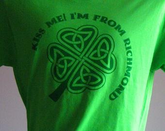 Kiss Me! I'm from Richmond! RVA St Patrick's Day T-shirt M-XL