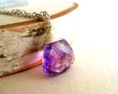 Amethyst Necklace Moss Amethyst gemstone Radiant Orchid Gift for her February Birthstone - Vitrine