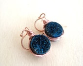 Cobalt Blue Druzy earrings Bling Sparkle Druzy jewelry Gift for her Under 50 Vitrine