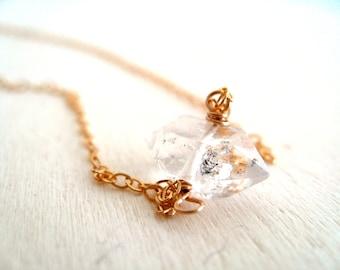 Herkimer Diamond Necklace Rose Gold April Birthstone Birthday Aries Vitrine Gift for her Under 55