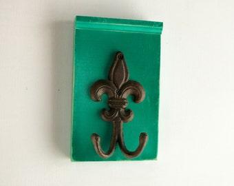 Funky Bold Green Iron Fleur de Lis Coat hanger