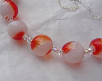 Orange Creamsicle Necklace, Ice-cream, summer, glass, borosilicate, swirl, white, sterling silver, crystal, orange split, dreamsicle