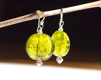 Lime Green Earrings Venetian Glass Foil Purple Swaroski Sterling Silver Chunky Statement Dangle