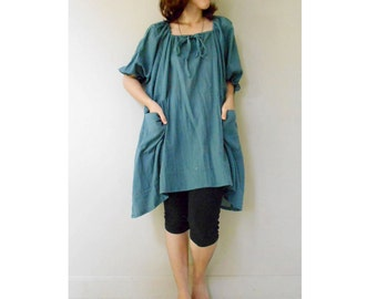 Custom Made Blue Cotton Loose Hippie Short Tunic Dress Boho Blouse (H)