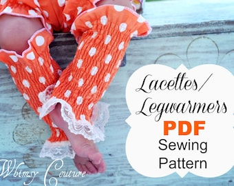 Legwarmers Pattern -- Lacettes/ Legwarmers -- cotton & knit fabric babies, toddlers, girls, ladies Instant