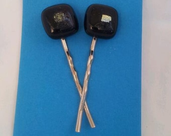 Fused Glass Bobby Pins Black With Dichroic