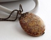VALENTINES SALE Antique Brass Necklace - Large Fossil Coral Agate Bead
