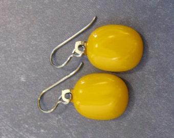 Niobium Earring, Light Orange Dangling Earrings, Nickel Free Jewelry, Hypoallergenic, Tangerine Orange Fused Glass - Adelaide - 2131 -3
