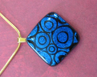 Blue Glass Necklace, Dichroic Necklace, Blue Fused Glass Pendant, Blue Dichroic Jewelry, Fashion Jewelry - Midnight Ride -3103-2