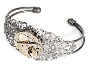 Steampunk Antiqued Silver Filigree Cuff Bracelet with Round Vintage Watch by Velvet Mechanism