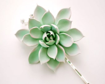 Ready to Ship -  2.75 inch Mint Green and Peach Succulent Hair Flower with Handwired Rhinestones with Silver Settings
