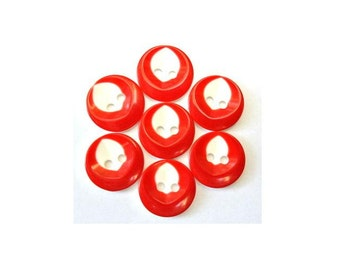 10 resin plastic buttons white with red 14mm, new