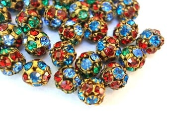 2 Vintage Swarovski beads, blue, green and red crystals in brass setting creating ball shape 10mm RARE