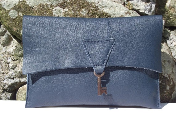 SALE - Raw edge leather clutch purse with vintage key - navy blue