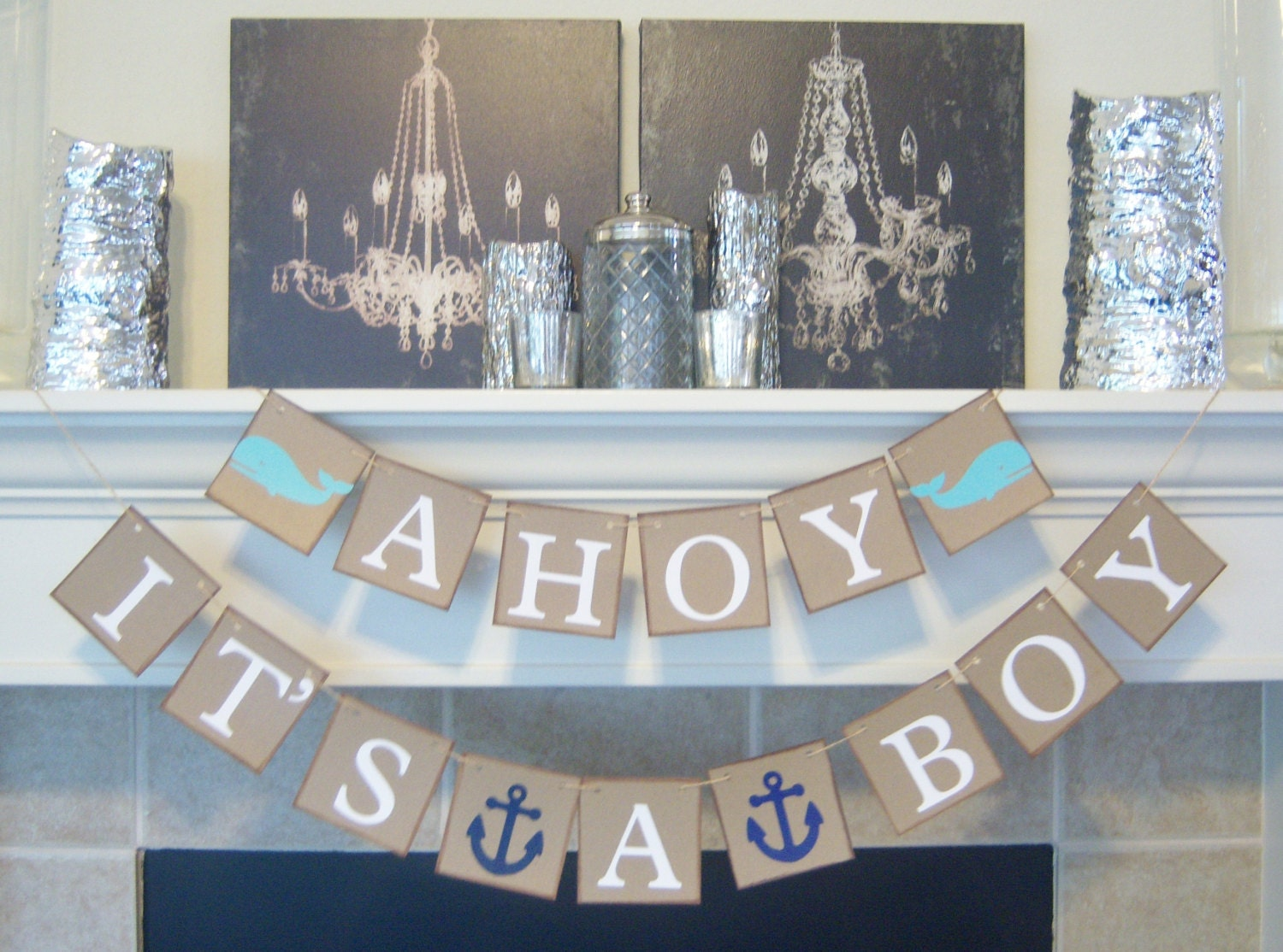 Ahoy it 39 s a boy baby shower banner nautical theme baby for Baby shower nautical decoration