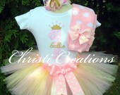 Baby Girl 1st Birthday Outfit - Pink and Gold Tutu - Cake Smash Photo Prop