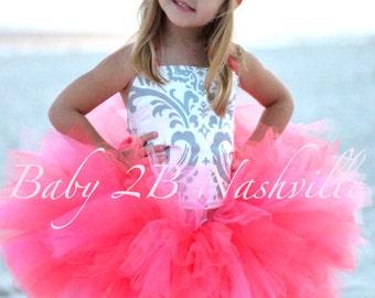 Beach Wedding Dress Flower Girl Dress Baby Girl Dress Coral and Silver Damask Toddler Tutu Dress Girls Tulle Dress Party Dress Coral Dress